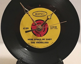 "Recycled The TREMELOES 7"" Record / Here Comes My Baby / Record Clock"