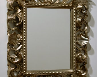 Mirror carved wood mirrors with classic frame, antique silver finish wedding gift list. Made in Italy
