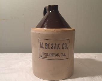 M. Bosak Co. Antique Whiskey Jug -Scranton, PA - Vintage Stoneware Jug