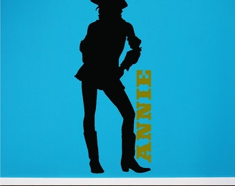 Personalized Cowgirl Wall Decal Wall Sticker Removable Wall Art