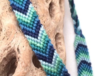 Chevron friendship bracelet - blue - green - arrowhead - embroidery floss - knotted - thread - string - v - macrame - braided - handmade