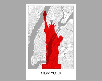 New York Map - City Map- Grid Map - Poster- Print