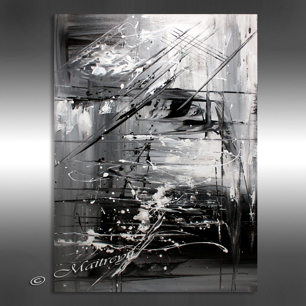Oil painting black white abstract art 40 artwork on for White and black paintings