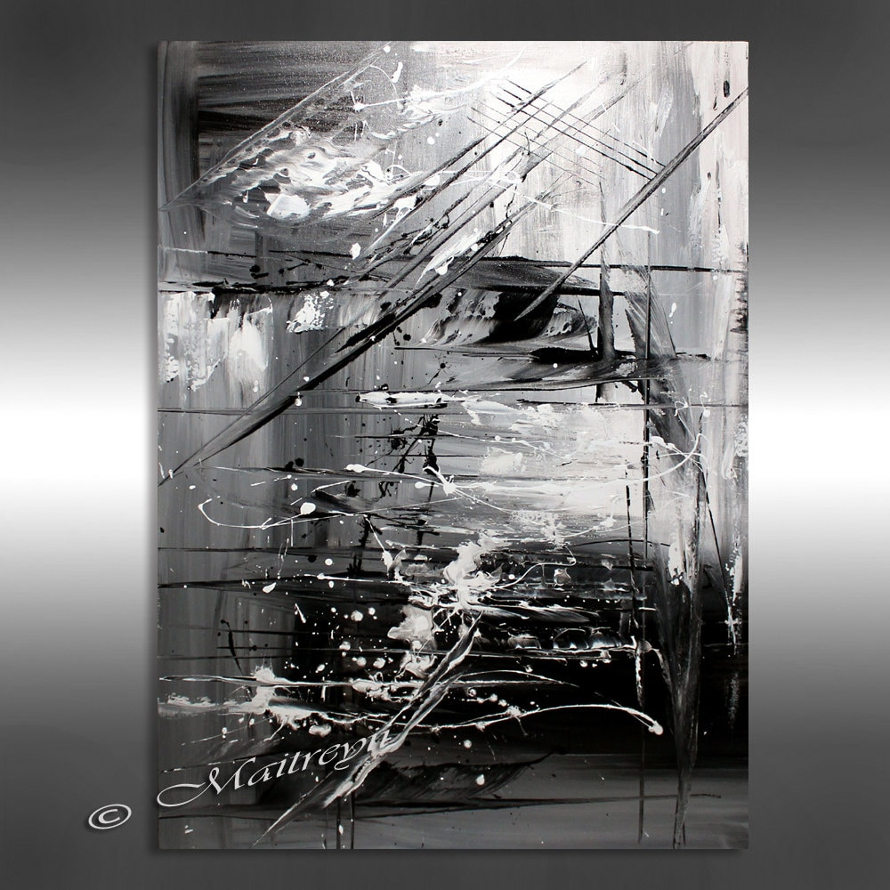 OIL PAINTING Black white Abstract Art 40 Artwork on for Abstract Paintings Black And White And Blue  58lpg
