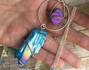 Aqua Aura Quartz Necklace