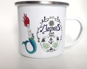 Enamel mug - mermaid mug - camping mug