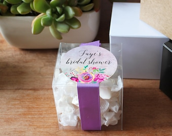 12 - Bridal Shower Favor Box - Personalized Favor Box | Faye Floral Favor Label | 3X3 box | square favor box | Baby Shower Favor Box