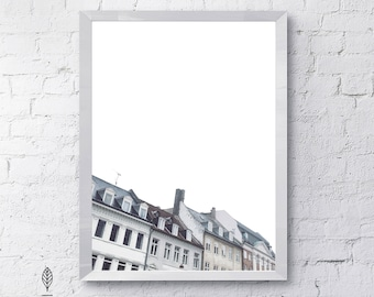 Copenhagen Homes | Eco-friendly Printable Art Instant Download. Modern Minimalist Print. Architecture Wall Art Poster.