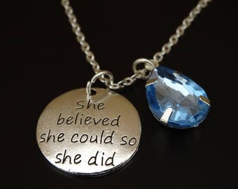 She believed she could so she did Necklace, Graduation Necklace, Graduation Gift, College Graduation, High School Graduation, Graduate Gift