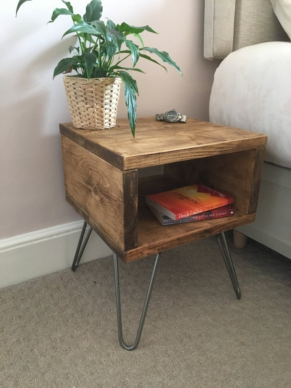 Rustic wooden bedside table night stand made from reclaimed