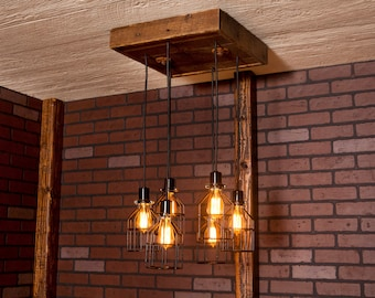 Industrial lighting, Industrial Chandelier, Black With Reclaimed Wood and 6 Pendants. R-1818-BC-6