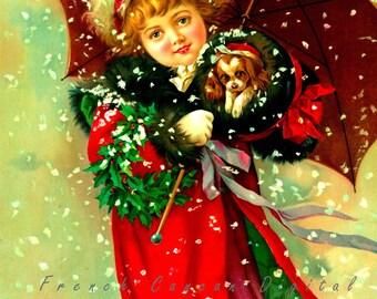 Antique illustration, child with dog, Digital Download