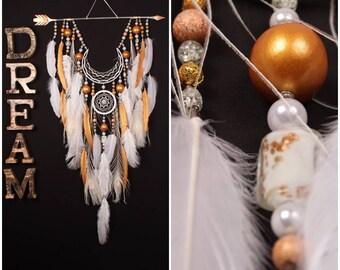 Dreamcatcher white dream catcher Arrow Copper Moon wedding dreamcatcher copper dreamcatcher native american Indian talisman boho wall decor