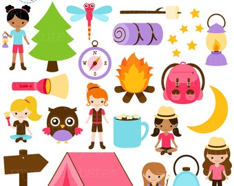 Camping Girls Clipart Set - clip art set of camping items, tent, moon, torch, compass - personal use, small commercial use, instant download
