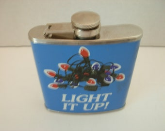 Christmas Flask, Light It Up, Blue, Stainless Steel, 6 Oz, Free Shipping