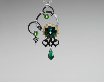 Emerald Swarovski Crystal Steampunk Pendant, Swarovski Necklace, Wedding Jewelry, Green Crystal Pendant, Wire Wrapped, Aphrodite v7