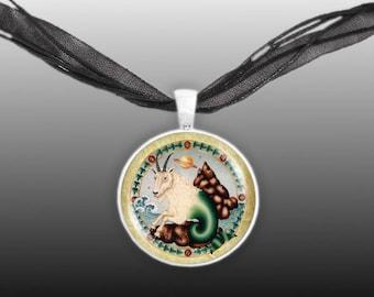 """Capricorn the Sea Goat Illustration Art 1"""" Pendant Necklace in Silver Tone"""
