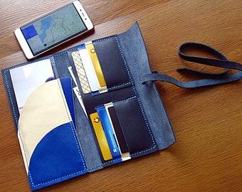Handmade genuine leather travel wallet, travel case,  handmade holder, wallet for travel, passport holder, passport wallet