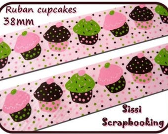 Pink GROS GRAIN Ribbon CUPCAKES cakes sewing 38mm