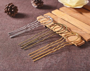 3x10.5cm Metal U-Shape Wavy Hair Fork Pin Hairpin Slide Bun Holder Stick Barette Cheveux Chignon Pick Arch Decoration Long Hair Accessories
