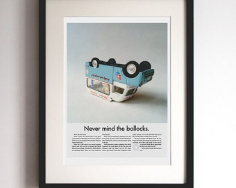 Sex Pistols Poster Print, Vintage Car Ad, Punk Rock Music Poster, Never Mind The Bollocks, Parody Album Advertisement