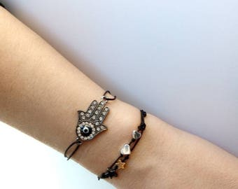 Bracemet hamsa hand of fatima, black color