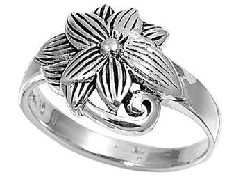 Women Sterling Silver Flower Ring 14mm / Free Gift Box(SNRP141016)