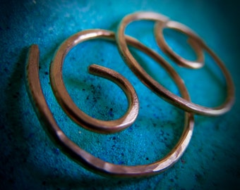 Free Shipping Item. Small Hoop Earrings. MINI. Swirls. Hammered Surface. 18 gauge copper wire