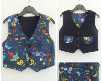 Boy's Vest, Boy's Reversible Vest, Boy's Waistcoat, Boy's Reversible Waistcoat, Boy's Clothing, Boys Birthday Outfit, 1st Birthday, Rockets