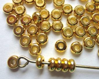 Spacer beads 150 gold beads metal diy jewelry supply gold spacer beads accent beads 4mm x 2mm rondelle beads EC8-(X2)
