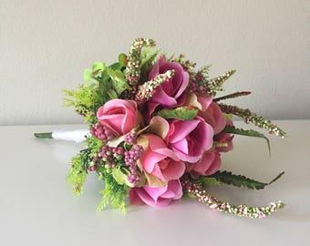 Pink Silk Flower Bouquet, Pink Rose Bouquet, Boho Bridesmaid Bouquet, Pink Bouquet, Rose Bouquet, Bridal Bouquet, Pink Bouquet with Greenery