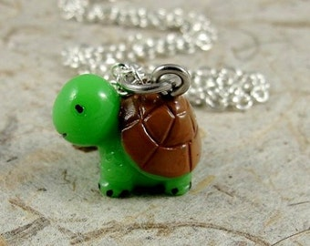 Green Turtle Necklace, Resin Turtle Charm on a Silver Cable Chain