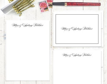 complete personalized stationery set - PERFECTLY BEAUTIFUL  - personalized stationary set - note cards - notepad - couples stationery