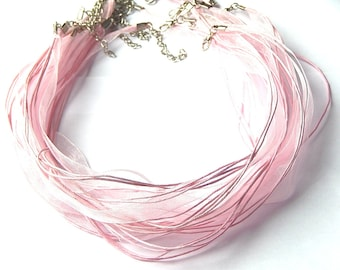 Pink 1 organza necklace with lobster clasp 47cm