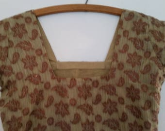 Vintage Hippie Tunic Bollywood Indian Top Boho Cotton Blouse with Gold Metallic Floral Design Made in India Size Small