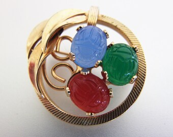 Vintage Fruit Salad Scarab Circle Pin | Glass Scarab Brooch |  Vintage Scarab Jewelry Jewellery | 1970's Scarab Jewelry | Gift Jewelry