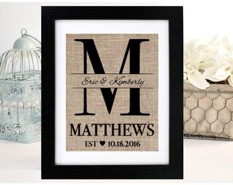 Bride Gift, Wedding Gift, Anniversary Gift, Rustic Wedding Gift, Bridal Shower Gift, Gift For Bride, Monogram, Burlap Monogram,