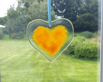Yellow Heart Fused Glass Window Hanging Sun Catcher Wall Decorations Christmas Decorations