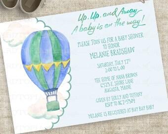 Hot Air Balloon Aquarell Baby Dusche Einladung Boy blau und grün individuell bedruckbare DIY professioneller Digitaldruck-Option