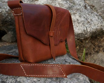 Rustic leather shoulder bag, raw edged leather purse