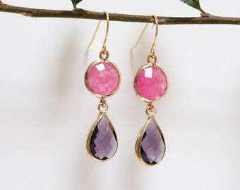 Amethyst Earrings - Gold Dangle Earrings - Stone Earrings - Drop Earrings - Quartz Earrings - Pink Quartz Earrings - Birthstone Earrings