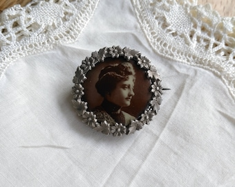 Antique sterling silver brooch Art nouveau French