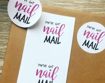 "You've got Nail Mail! 50 1.5"" circular mail Stickers"