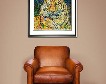 Tiger wall art, Tiger print, Big cat wall art, wildlife art, Tiger stripes,man Cave art, by Johno Prascak