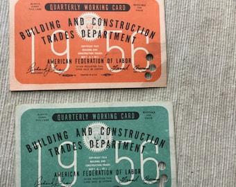 Building and Construction Quarterly Work Cards circa 1956