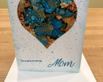 Mother's Day Card Blue & Gold Heart -I'm so glad you are my  Mom Sentiment