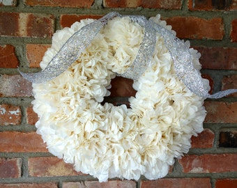 PuffScape WREATH Holiday Silver & Ivory Entrance Decor Tree Alternative Tissue Paper Flower Christmas December Wedding Place Card Holder