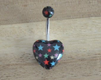 Black and Multi Colored Star Print Heart Shape Acrylic Belly Button Ring Navel Body Piercing Jewelry