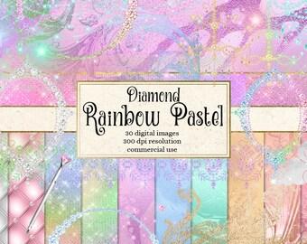 Diamond Rainbow Pastel Digital Scrapbooking Kit, unicorn clipart,  glam digital paper, diamond lace, bling instant download commercial use