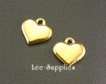 20pcs Antique Gold Alloy Love Heart Charms A1347